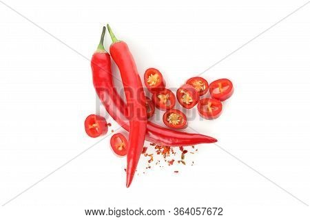 Tasty Red Chilli Peppers Isolated On White Background