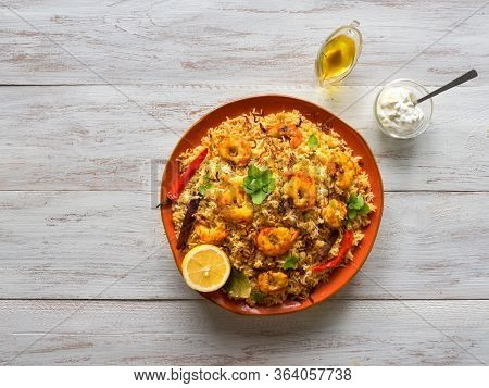 Indian Biryani With Shrimp. Tasty And Delicious Prawns Biryani, Top View, Copy Space.