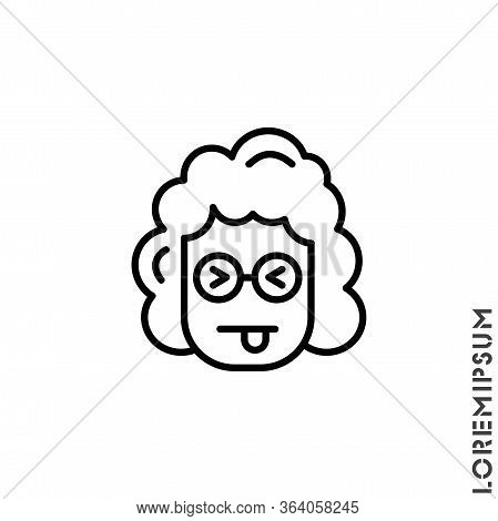 Squinting Face With Tongue Line Girl, Woman Icon. Linear Style Sign For Mobile Concept And Web Desig