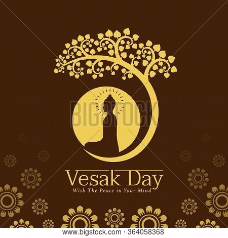 Vesak Day Banner With Yellow The Lord Buddha Meditate Under Bodhi Tree And Circle Full Moon Sign On