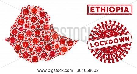 Coronavirus Mosaic Ethiopia Map And Seals. Red Round Lockdown Textured Seal Stamp. Vector Coronaviru