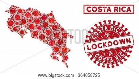Coronavirus Collage Costa Rica Map And Seal Stamps. Red Rounded Lockdown Grunge Seal Stamp. Vector C