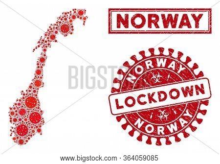 Flu Virus Mosaic Norway Map And Rubber Prints. Red Rounded Lockdown Textured Stamp. Vector Coronavir