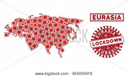 Covid-2019 Virus Mosaic Eurasia Map And Watermarks. Red Rounded Lockdown Textured Watermark. Vector