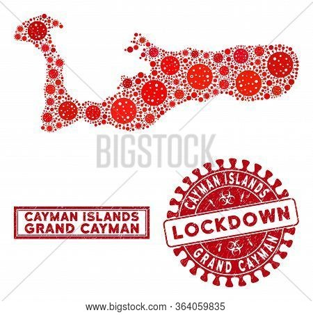 Covid-2019 Virus Mosaic Grand Cayman Island Map And Rubber Prints. Red Rounded Lockdown Distress Sea