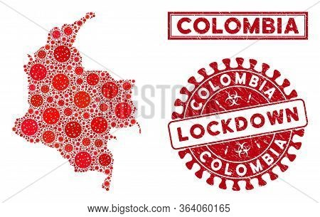 Coronavirus Collage Colombia Map And Seal Stamps. Red Rounded Lockdown Textured Seal Stamp. Vector C