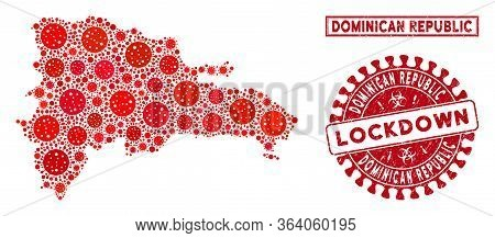 Coronavirus Collage Dominican Republic Map And Seal Stamps. Red Round Lockdown Textured Seal. Vector