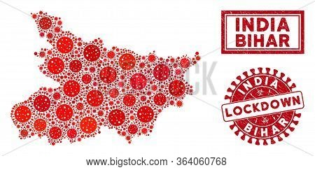 Covid-2019 Virus Collage Bihar State Map And Watermarks. Red Round Lockdown Textured Seal Stamp. Vec