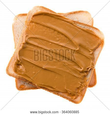 Peanut Butter On Toast Isolated, Peanut Butter On Bread On A White Background.