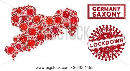 Covid-2019 Virus Collage Saxony Land Map And Seal Stamps. Red Rounded Lockdown Grunge Seal. Vector C