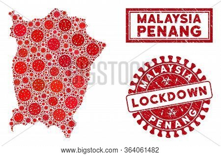 Covid-2019 Virus Mosaic Penang Island Map And Seal Stamps. Red Rounded Lockdown Distress Seal Stamp.