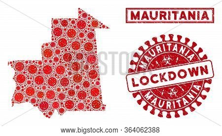 Covid-2019 Virus Collage Mauritania Map And Stamps. Red Round Lockdown Scratched Stamp. Vector Coron