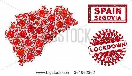 Coronavirus Collage Segovia Province Map And Seals. Red Round Lockdown Textured Stamp. Vector Corona