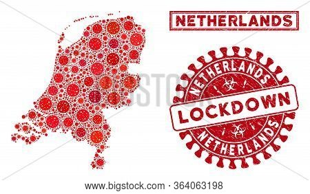 Covid-2019 Virus Collage Netherlands Map And Watermarks. Red Round Lockdown Grunge Watermark. Vector