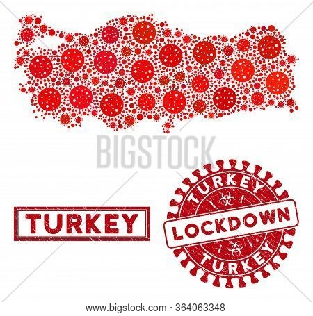 Covid-2019 Virus Collage Turkey Map And Seal Stamps. Red Round Lockdown Textured Seal Stamp. Vector