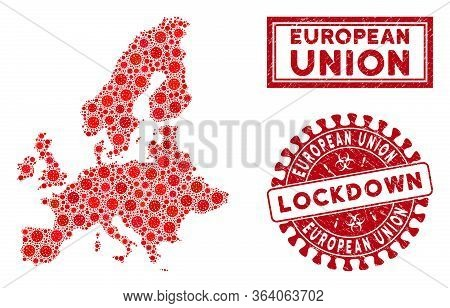 Coronavirus Collage European Union Map And Stamps. Red Rounded Lockdown Textured Stamp. Vector Coron