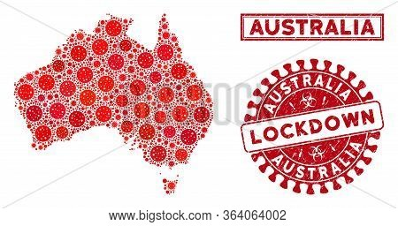 Coronavirus Collage Australia Map And Seal Stamps. Red Rounded Lockdown Scratched Seal Stamp. Vector