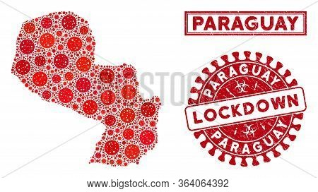 Covid-2019 Virus Mosaic Paraguay Map And Seal Stamps. Red Round Lockdown Scratched Seal. Vector Covi