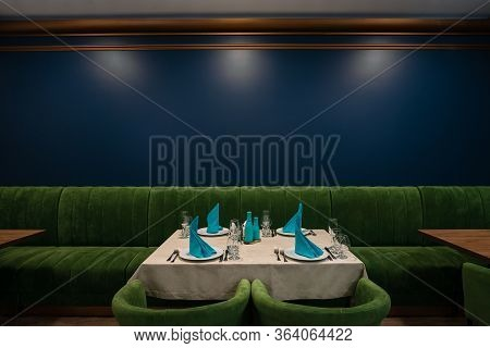 Served Table In Restaurant Interior, With Blank Menu, Empty Served Restaurant Table With Copy Space