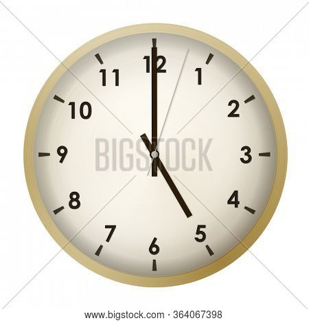Analog gold metal wall clock isolated on white background.