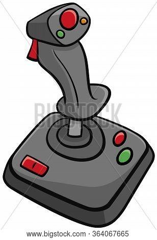 Cartoon Illustration Of Joystick Input Device Computer Game Controller Clip Art
