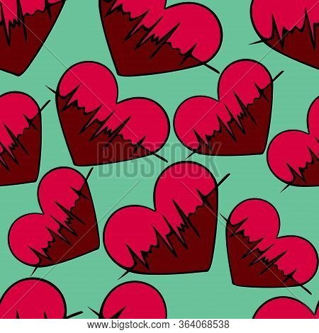 Heart with pulse. An endlessly repeating ornament. Symbols on an isolated green background. Seamless vector pattern. Cartoon style. Cardiology. Assessment of arterial pulsation. Vital biological process. Health theme. Idea for packaging, covers, textiles,