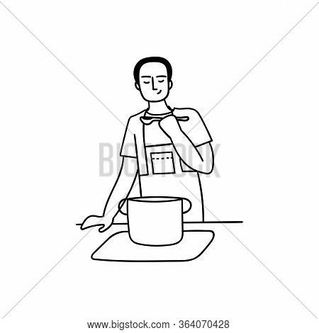 A Young Man Cooks At Home In The Kitchen. Husbands Household Duties. Doodle Vector Illustration.