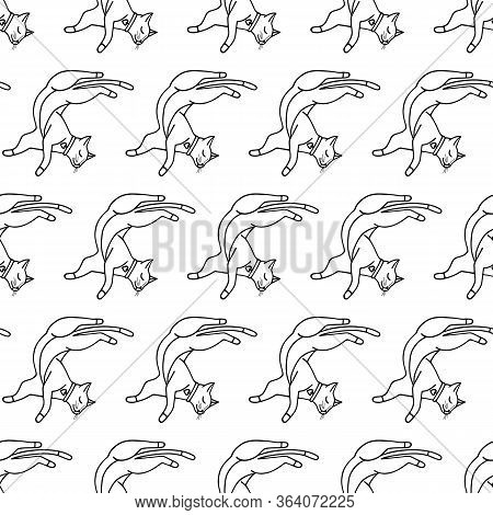 Cute Doodle Cat Vector Seamless Pattern On White Background. Black And White Hand-drawn Print. Desig