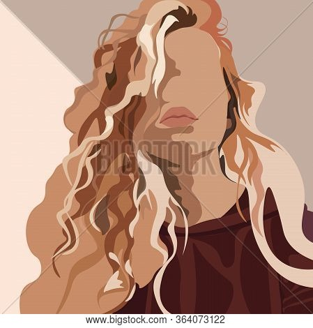 Vector Illustration Of An Isolated Young Beautiful Curly Hair Woman With Plump Leaps. Fashion Portra