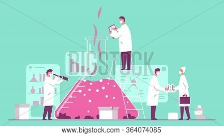 Vector Concept Illustration Of A Team Of Scientists Wearing Masks Doing Research In A Chemistry Lab.