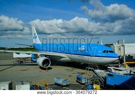 Amsterdam / Netherlands - October 7, 2018: Klm Royal Dutch Airlines Airbus A330-203 At Amsterdam Air