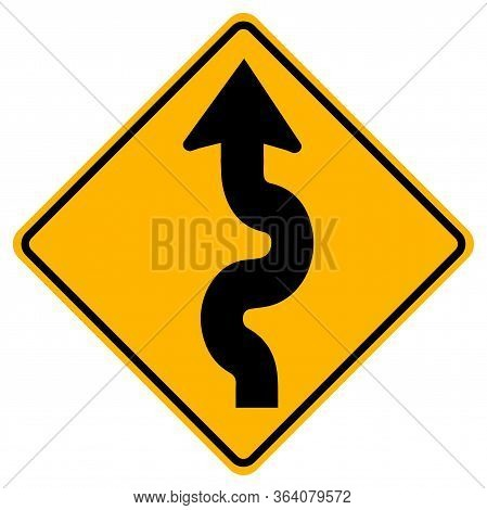 Warning Signs Winding Road, First Bend To Left On White Background