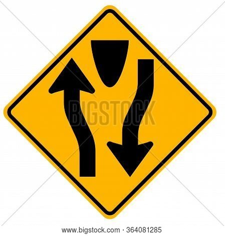 Warning Signs Divided Road Begins On White Background