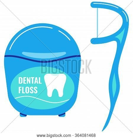 Dental Floss With Tooth Icon, Interdental Brush Set Isolated On White Background. Flossing Tools Sym