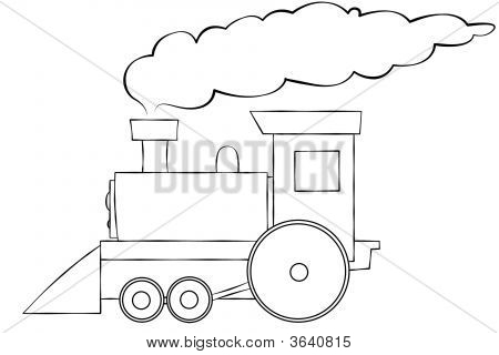 Cartoon Train Line Art