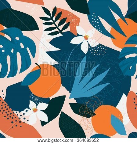 Collage Contemporary Floral Seamless Pattern. Modern Exotic Jungle Fruits And Plants Illustration In
