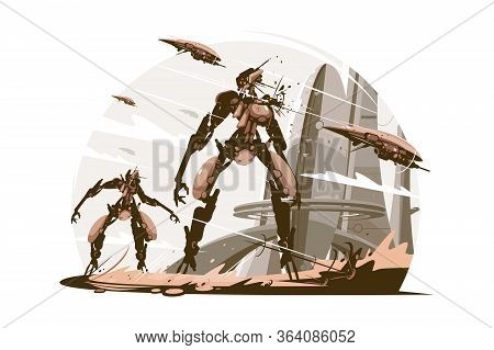 Cyborgs On Battle Field Vector Illustration. Cyborg
