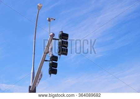 Usa. Traffic Lights At The Intersection Of Streets In The City. Mounted Traffic Monitoring System.