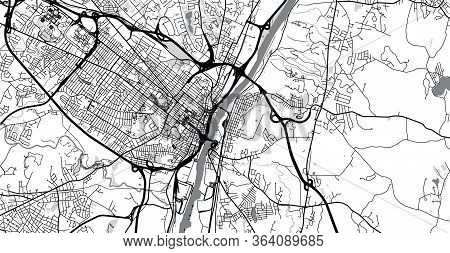 Urban Vector City Map Of Albany, Usa. New York State Capital
