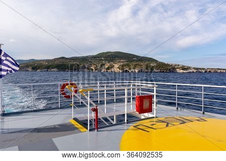 Open Deck Of A Ferryboat In Sunny Summer Day. Greece