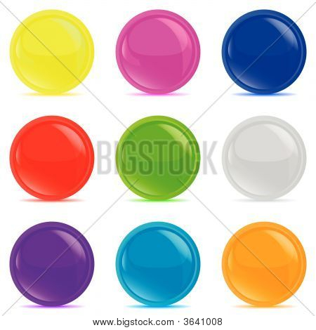 set of 9 glossy buttons for your website presentation... poster