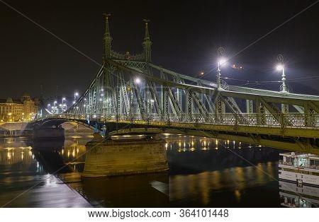 Budapest / Hungary - October 20, 2018: Liberty Bridge Or Freedom Bridge, Szabadsag Hid, Across The R