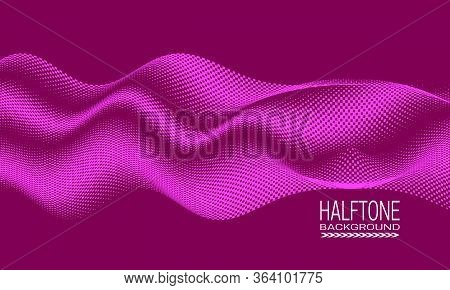 Abstract Vector Halftone Background Design With Wavy Texture Of Square Dots. Pink Monochrome Printin