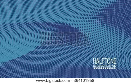 Halftone Background Design With Monochrome Blue Curved Space. Abstract Printing Raster Of Cyberspace