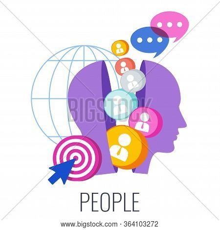 People Infographics Pictogram. 7 Ps Marketing Mix. Flat Vector Illustration. Strategy And Management