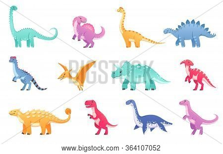 Dinosaurs Cartoon Set With Isolated Icons And Doodle Characters Of Dinos Of Different Breed And Colo