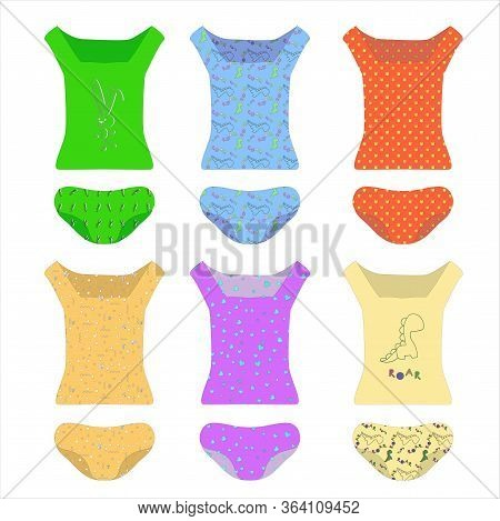 A Set Of Underwear. T-shirts And Panties In Different Colors. Cartoon Clothes, Knitwear Or Pajamas I