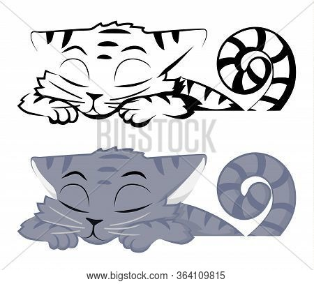 Cat Grey Snoozing At Table Cartoon Character Color Vector Illustration With Black And White Version,