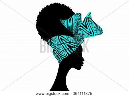 Portrait African Woman Wears Bandana For Curly Hairstyles. Shenbolen Ankara Headwrap Women. Afro Tra