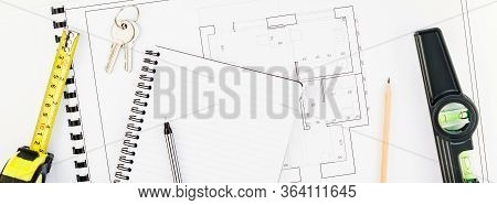 Creative Flat Lay Overhead Top View Blueprint Flat Project Plan And Office Supplies On Decorator Tab